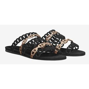 New Hermès Chaine d'Ancre Sandals Black Suede 38.5